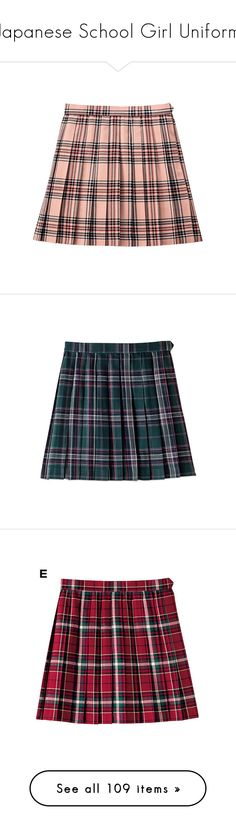 """""""Japanese School Girl Uniform"""" by girlwithherheadintheclouds ❤ liked on Polyvore featuring skirts, bottoms, pink, saia, red rose skirt, rose skirt, rosette skirt, pink skirt, red skirt and brown skirt"""