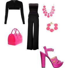 black and pink, created by kristy-wilfley on Polyvore