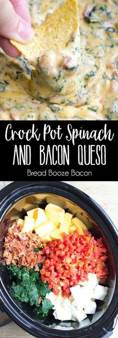 You'll never need another cheese dip recipe again after you try one bite of Crock Pot Spinach & Bacon Queso Dip! via You'll never need another cheese dip recipe again after you try one bite of Crock Pot Spinach & Bacon Queso Dip! Crock Pot Dips, Crock Pot Slow Cooker, Crock Pot Cooking, Slow Cooker Recipes, Crockpot Recipes, Cooking Recipes, Healthy Recipes, Crock Pot Cheese Dip, Crock Pot Healthy