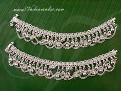 White metal Silver Anklets Payal Leg Ornament Indian anklet Adults and Kids size Online Payal Designs Silver, Silver Anklets Designs, Silver Payal, Anklet Designs, Silver Jewellery Indian, Silver Jewelry, Ankle Jewelry, Jewelry Design, Women Jewelry