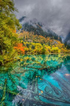 China, National Park Juizhaigou, Five Color Lake by Anton