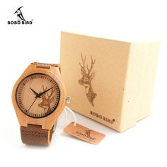 Engraved Elk Head Natural Wooden Watches With Genuine Cowhide Leather Lovers Luxury Wristwatch Mens Wood Watch as Gifts