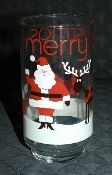 Libbey Glass Santa Rudolph Merry Christmas Tumblers