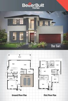 The Sari: Double Storey House Design 301 Sq.m – x Entertaining will be easy in this comfortable but clever design. With the Kitchen in prime location to allow easy access to the Alfresco and dining area's. Created with a busy lifestyle in mind, Double Storey House Plans, 2 Storey House, Storey Homes, 2 Story House Design, Modern House Design, Modern House Floor Plans, Dream House Plans, Modern Mansion, Bedroom House Plans