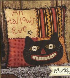 Primitive Folk Art Wool Applique Pattern:  OCTOBER - PATCHWORK PILLOW. via Etsy.