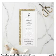 Classic Bars Lines Double Monogram Modern Wedding Program Ceremony Programs, Wedding Ceremony, Modern Wedding Program, Modern Minimalist Wedding, Classic Bar, Anniversary Parties, Program Design, Text Color, Simple Weddings