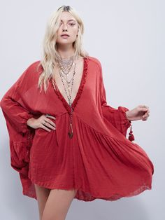 Get Yer Gauze Tunic | Oversized sheer crinkly mesh gauzy tunic with a plunge V in front and back. Ties with tassel and bell detailing. Raw trim.