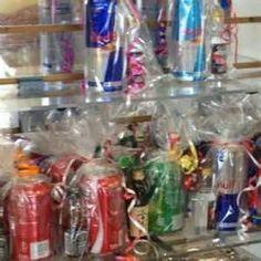 Mini alcohol bottle prizes for men at co ed baby shower - packaged ...