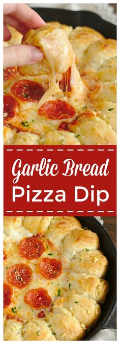 Garlic Bread Pizza Dip – The ultimate appetizer for pizza fans! This pizza dip has a ring of pull apart garlic bread with an addicting cheesy dip inside topped with marinara sauce and pepperoni. Perfect for game day or a party! #pizza #dip #appetizer
