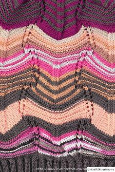 lo vi, me gustó, lo comparto: puntos missoni Knitting Paterns, Knitting Charts, Knitting Stitches, Knit Patterns, Knitting Projects, Stitch Patterns, Missoni, Knitted Afghans, Knitted Blankets