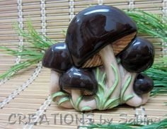 Ceramic Mushroom Napkin Holder / Toad Stool / Brown Green Tan Beige Woodland / Retro Nature Natural Nightshade Vintage / FREE SHIPPING / by CREATIONSbySabine, $20.00