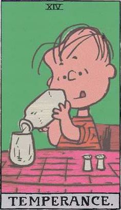 Temperance - Peanuts Tarot: Snoopy, Charlie Brown, and the gang characters by Charles M. Peanuts Cartoon, Peanuts Gang, Tarot By Cecelia, Fortune Telling Cards, Tarot Major Arcana, Tarot Learning, Tarot Card Meanings, Tarot Card Decks, Charlie Brown And Snoopy