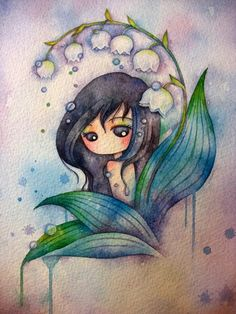 By Juri Ueda--this is adorable. It's like she's in the shower and the flowers bathe her!