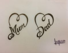 Small feminine tattoo design Mum Dad heart forever love parents tat