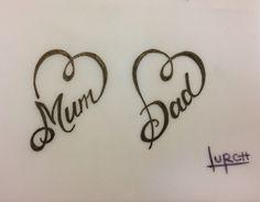 Small feminine tattoo design Mum Dad heart forever love parents tat
