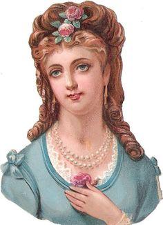 Oblaten Glanzbild scrap die cut chromo Dame lady 10,8cm girl head Kopf portrait: