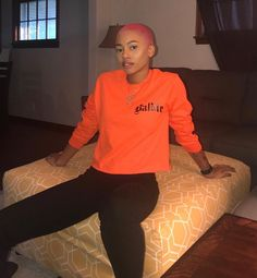 in our baldie long sleeve Natural Hair Short Cuts, Natural Hair Styles, Pink And Orange Hair, College Hairstyles, Girls With Shaved Heads, Buzzed Hair, Afro, Gorgeous Hair Color, Bald Hair