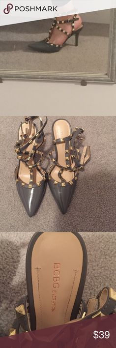 BCBGeneration Grey Studded closed toe heels Grey pointed closed toe shoes with gold studs and straps. Worn once size 7. BCBGeneration Shoes Heels