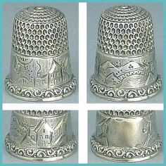 Antique Sterling Silver Scenic Child's Thimble * Simons Bros. * Circa 1880s