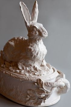 French Country Home — 18th century White Faience Hare Terrine