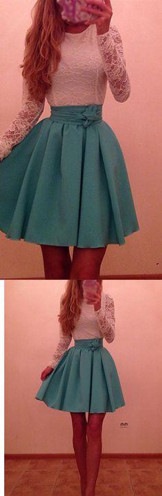 Fashion Design A-line Long Sleeve Knee Length Short Cocktail Dresses Casual Dresses