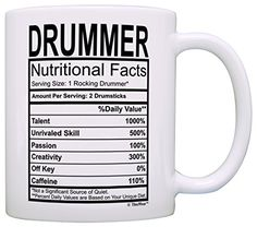 Drummer Gifts Drummer Nutritional Facts Label Percussion Drum Player Gift Coffee…