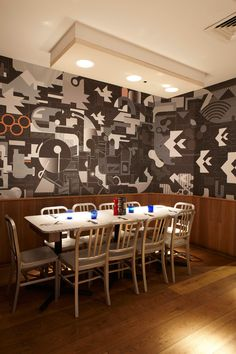 Acoustic products installed at Pizza Express. RPG Products: Ceiling - Fabric covered RPG Absorbers in circle clusters and rectangles.  Photo by @adamcoupe  #acoustics #rpg #absorbers #ceiling #panels #restaurant #noisecontrol #pizzaexpress