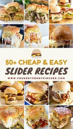 These sliders are perfect for a game day appetizer, a Super Bowl party or for a cheap and easy lunch! You can pair them with some fries or chips for a complete meal. Chicken Slider Recipes Chicken Parmesan Sliders from Food Curation Slow Cooker Buffalo Ch Easy Slider, Slider Bar, Seared Salmon Recipes, Slider Sandwiches, Steak Sandwiches, Party Sandwiches, Brunch, Cheap Easy Meals, Cheap Recipes