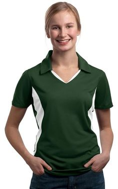 Sport-Tek Women's Side Blocked Moisture Sport Shirt, Forest Green/White, X-Large ** Remarkable product available now. : Plus size shirts