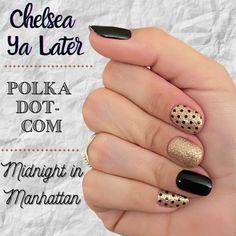 Nail Color Combos, Nail Colors, Polka Dot Nails, Pink Nails, Polka Dots, Cute Nails, Pretty Nails, Hair And Nails, My Nails