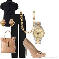 Classy business attire...a simple gold necklace paired with simple stud earrings offset a black outfit. Adding a watch gives a more professional look.