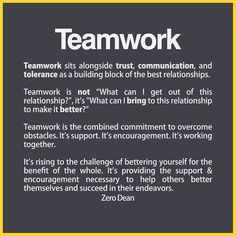 From acquaintances to best friends to married couples, all great friendships involve teamwork. Teamwork sits alongside trust, communication, and tolerance … Communication Quotes, Leadership Quotes, Quotes About Teamwork, Teamwork Quotes Motivational, Leadership Activities, Educational Leadership, Leadership Strengths, Accountability Quotes, Manager Quotes