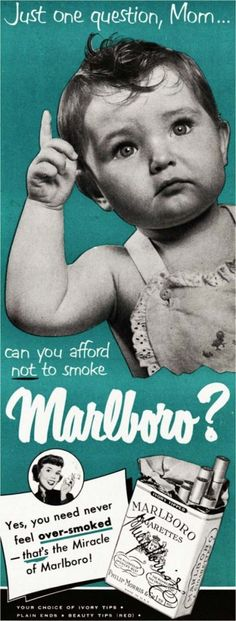 """never feel """"over-smoked""""...I have two baby promoting smoking ads..way to appeal to the """"good mother"""""""