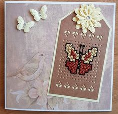 Tiny Cross Stitch, Cross Stitch Bookmarks, Cross Stitch Cards, Cross Stitch Patterns, Embroidery Cards, Borders For Paper, Marianne Design, Card Patterns, Butterfly Cards