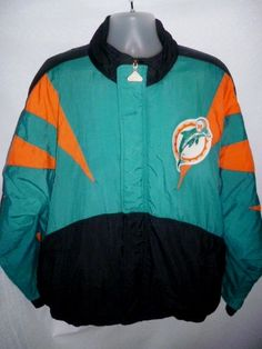 Vintage Football NFL MIAMI DOLPHINS Authentic APEX Starter Jacket 1990s Mens L #NFLProlineApexOne #MiamiDolphins