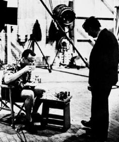 stanley kubrick playing george c. scott on the set of dr. strangelove