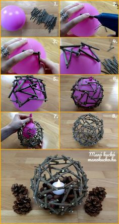Őszi dekoráció - Hangulatos gömb faágakból - Manó kuckó- in 2020 Twig Crafts, Diy Home Crafts, Nature Crafts, Diy Arts And Crafts, Creative Crafts, Fun Crafts, Crafts For Kids, Tree Branch Crafts, Tree Branch Decor