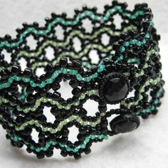 """Waves of Symmetry"" cuff bracelet by Cindy Caraway - bead weaving. Published in Bead & Button magazine - Oct 2009"