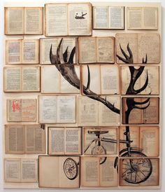 love this idea of painting a big picture on several book and displaying on the wall (bookstore project)