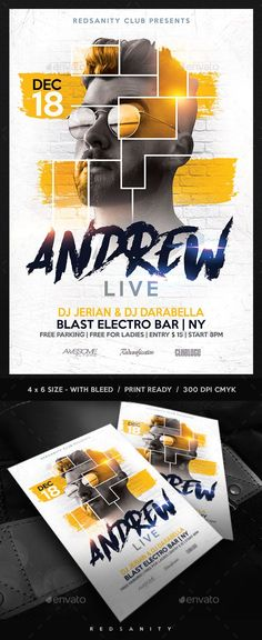 Buy Guest DJ / Artist Flyer by Redsanity on GraphicRiver. Features Very easy to edit Photoshop template. Elements labeled in an organized folders. All text editable. Poster Sport, Poster Cars, Poster Retro, Flyer Design Inspiration, Gfx Design, Layout Design, Poster Festival, Banners, Poster Text