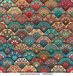 Colorful vintage seamless pattern with floral and mandala elements. Can be used for fabric, wallpaper, tile, wrapping, covers and carpet. Pattern Floral, Textile Pattern Design, Abstract Pattern, Magic Illusions, Circle Art, Pattern Wallpaper, Fabric Wallpaper, Vintage Colors, Fractal Art