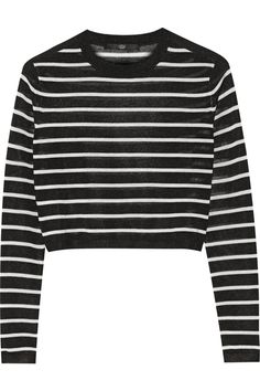 Tibi Cropped striped knitted sweater NET-A-PORTER.COM