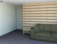 Διακόσμηση Τοίχου σε χώρο αναμονής με Ξύλινη Επένδυση από καπλαμά και μεταλλικές ρίγες [Σειρά Stripes] Blinds, Curtains, Furniture, Home Decor, Decoration Home, Room Decor, Shades Blinds, Blind, Home Furnishings