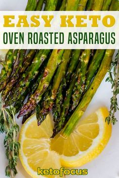 Oven roasted asparagus is an easy keto side dish you can prepare for dinner. Tossed asparagus spears with olive oil and a few seasoning and pop in the oven to crisp and bake. Roasting asparagus in the oven is a fast way to prepare an easy keto side dish for dinner! | KetoFocus @ketofocus #asparagusrecipes #ketoasparagusrecipes #ketosidedish #roastedasparagus #ketorecipes #ketolifestyle #ketofocus Healthy Side Recipes, Low Carb Dinner Recipes, Keto Dinner, Side Dish Recipes, Lunch Recipes, Keto Recipes, Summer Recipes, Oven Roasted Asparagus, Asparagus Spears