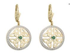 Buy Emerald Earrings on your Irish Jewelry eshop Celtic Circle, Celtic Trinity Knot, Emerald Earrings, Drop Earrings, Irish Jewelry, Irish Celtic, Emerald Stone, Circle Earrings, Jewelry Crafts