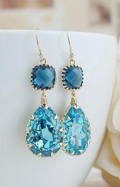 Aquamarine and montana blue dangle earrings from EarringsNation Aqua Weddings Beach Weddings Blue Weddings