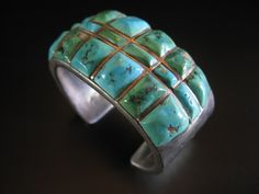 Early Zuni raised channel turquoise inlay