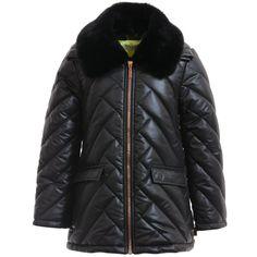 Girls Black 'Monsters' Padded Coat, Kenzo, Girl