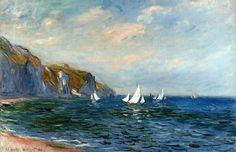 """Oscar-Claude Monet (1840 - 1926) pintor francés, uno de los creadores del Impresionismo ya que este término deriva del título de su obra """"Impresión, sol naciente"""". """" Cliffs And Sailboats At Pourville """"  1882  Óleo."""