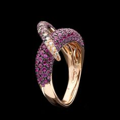 Salavetti Pink Sapphire & Diamond Wrap Ring | From a unique collection of vintage band rings at https://www.1stdibs.com/jewelry/rings/band-rings/